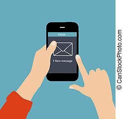 płaski, pojęcie, ilustracja, wektor, inbox, poczta