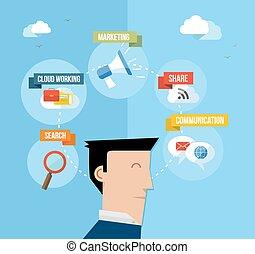 płaski, pojęcie, media, ilustracja, użytkownik, towarzyski