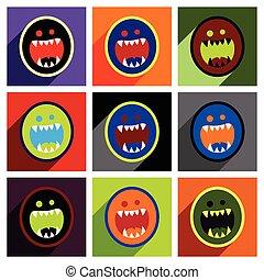 płaski, pojęcie, potwór, toothy, jasny, tło, cień, ikona