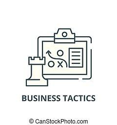 płaski, pojęcie, taktyka, szkic, handlowy znaczą, ilustracja, symbol, vector., ikona, kreska