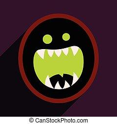 płaski, potwór, toothy, jasny, tło, cień, ikona