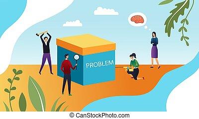 płaski, problems., handlowy, dyskutować, próba, style., ludzie, rozwiązać