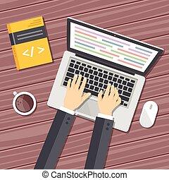 płaski, programowanie, ilustracja
