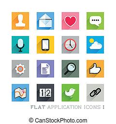 płaski, projekty, ikona, -, zastosowania