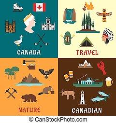 płaski, przebądźcie ikony, kanadyjczyk, natura