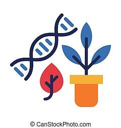 płaski, roślina, biologia, białe tło, pojęcie, budowa, wektor, dna, lekcja, doniczka, styl, ilustracja