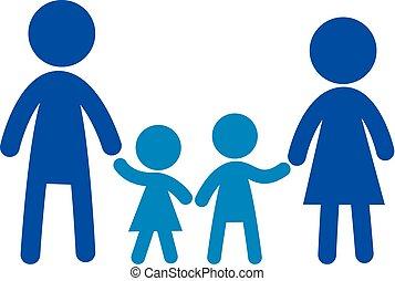 płaski, rodzina, family., znak, wektor, logo, icon.