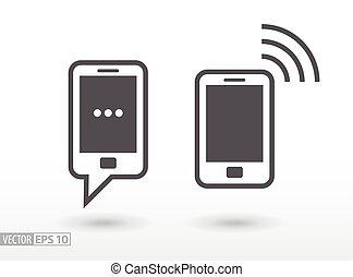 płaski, ruchomy, znak, telefon, wektor, logo, icon., smartphone.