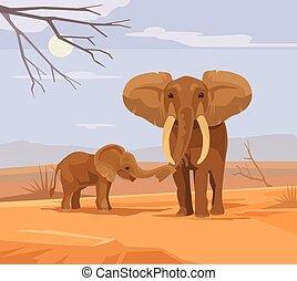 płaski, słonie, dwa, ilustracja, wektor, litery, afryka., rysunek