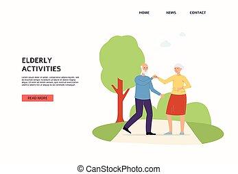 płaski, senior, starszy, website, działalność, interfejs, para, wektor, illustration.