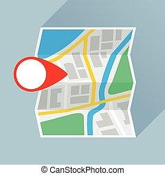 płaski, składany, marka, rozmieszczenie, papier, mapa, ikona