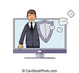 płaski, spam., pojęcie, tarcza, odizolowany, defender., tło., conputer, wektor, niepotrzebny, illustration., poczta, broniąc, biały, antispam, style., człowiek