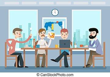 płaski, styl, handlowy, pracujący, biuro., drużyna, ilustracja, wektor, meeting.