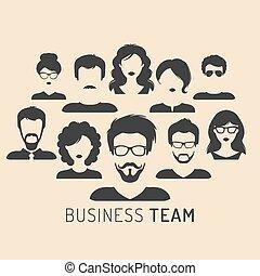płaski, styl, kierownictwo, handlowa ilustracja, wektor, drużyna