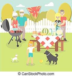 płaski, styl, piknik, rodzina, ilustracja, wektor