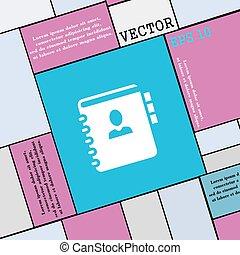 płaski, styl, poznaczcie., nowoczesny, twój, telefon, wektor, adres, notatnik, ikona, książka, design.