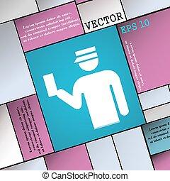 płaski, styl, poznaczcie., nowoczesny, wektor, inspektor, ikona, twój, design.