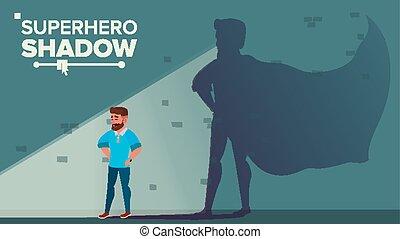 płaski, superhero, pomyślny, wyzwanie, przewodnictwo, ilustracja, victory., businessman., vector., biznesmen, cień, concept., rysunek, osiągnięcie, motywacja