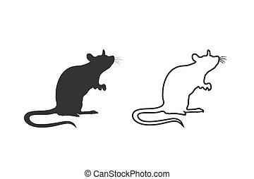 płaski, szczur, silhouette., styl, reputacja, set., nowoczesny, kreska, znak, wektor, ikona