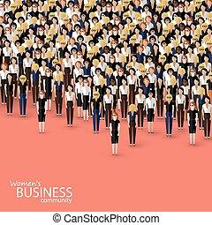 płaski, tłum, handlowa ilustracja, community., wektor, kobiety