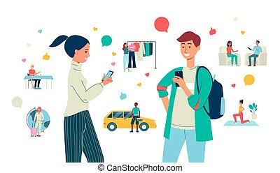płaski, towarzyski, ilustracja, isolated., wektor, zadowolenie, bloggers, tworzenie, media