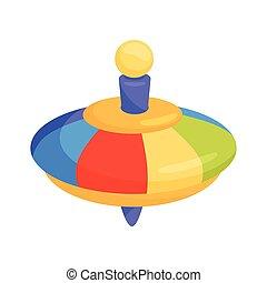 płaski, whirligig, toy., dzieci, wektor, rainbow-colored, brzęczący, plastyk, górny, ikona