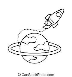 płaski, wyrzutnia, ikona, rakieta, styl, saturn, statek kosmiczny