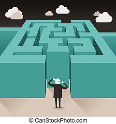 płaski, wyzwanie, pojęcie, projektować, ilustracja