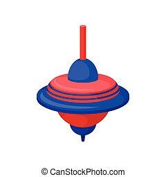 płaski, zabawka, klasyk, błękitny-czerwony, plastyk, top., przędzenie, wektor, whirligig., brzęczący, dzieci, ikona