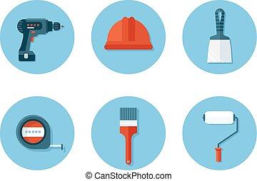 płaski, zbudowanie wystawiają, narzędzia, ikony
