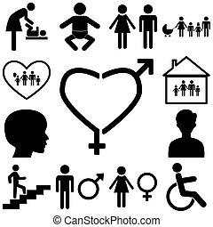 płaski, znak, illustration., rodzina, ikony