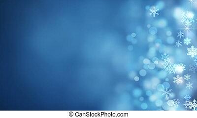 płatki śniegu, abstrakcyjny, bok, jarzący się, tło, boże narodzenie, pętla