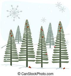 płatki śniegu, drzewa