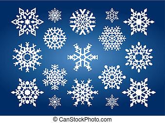 płatki śniegu, (vector)