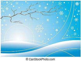 płatki śniegu, zima, tło, gałąź