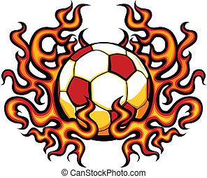 płomienie, szablon, piłka nożna, wektor