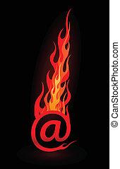 płomienie, wektor, e-poczta