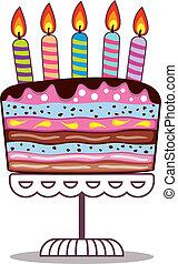 płonący, świece, urodziny, wektor, stać, ciastko
