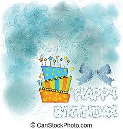 płonący, cielna, urodziny, wektor, świece, ciastko