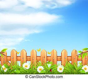 płot, drewniany, wiosna, tło, wektor, trawa