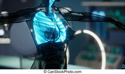 płuca, egzamin, ludzki, rentgenologia, laboratorium