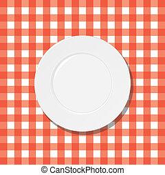 płyta, biały, klatkowy tablecloth, czerwony