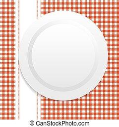 płyta, biały, tablecloth, czerwony