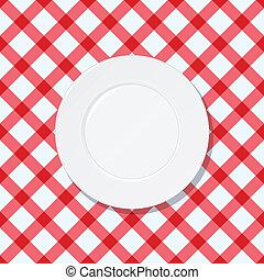 płyta, biały, zaszachowany, tablecloth, czerwony