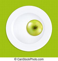 płyta, biały, zielone jabłko