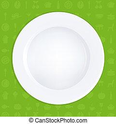 płyta, biały, zielone tło