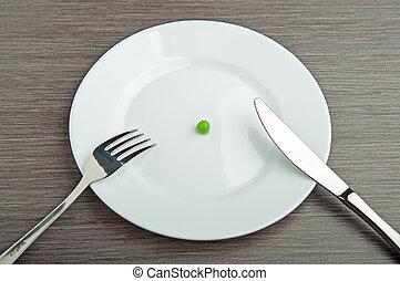 płyta, concept., dieta, jeden, biały, groch, opróżniać