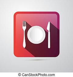 płyta, icon., jedzenie, widelec, nóż