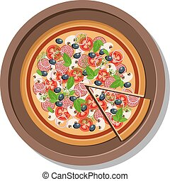 płyta, illustration., odizolowany, wektor, biały, pizza
