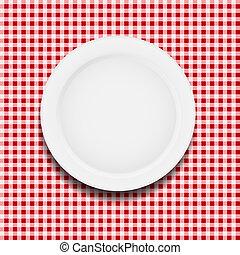 płyta, klatkowy, ilustracja, wektor, biały, tablecloth